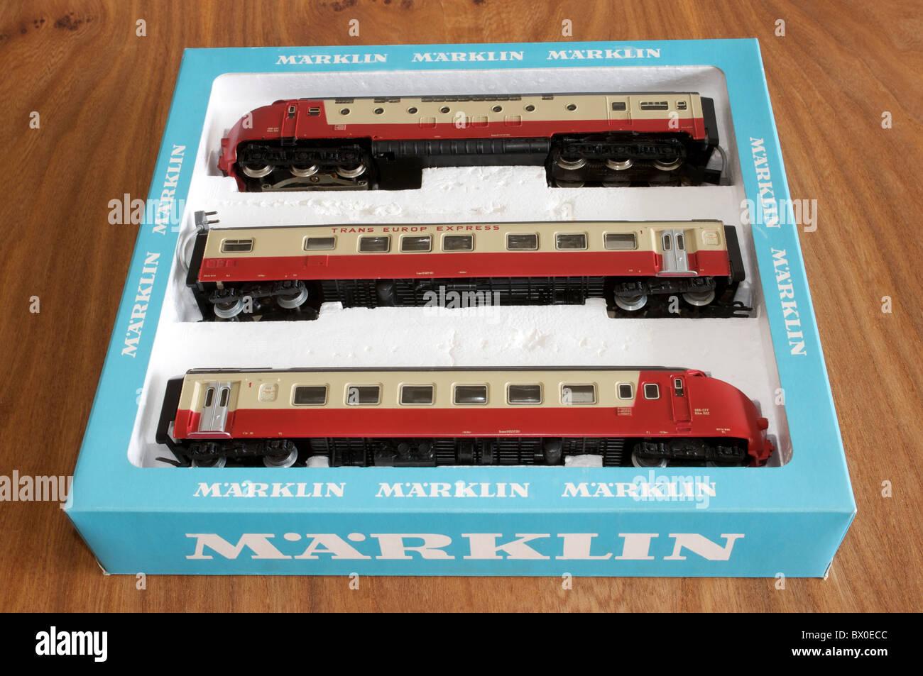 Marklin toy train set Stock Photo