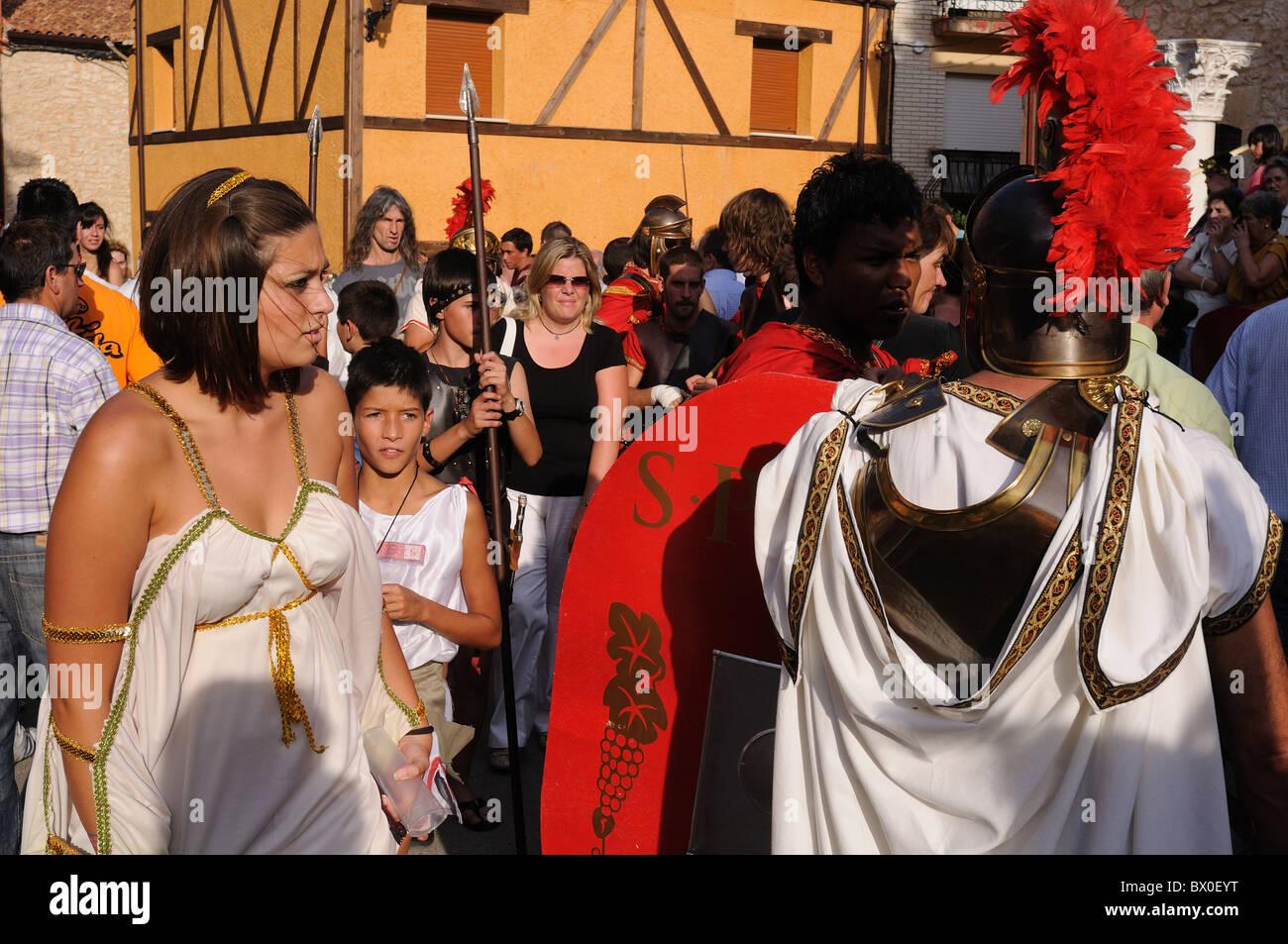 "Roman festival of the ""  God Bacchus ""  People in the Main Square at sunset   BAÑOS DE VALDEARADOS    Burgos Stock Photo"
