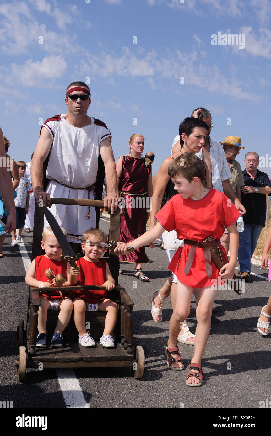 "Roman festival of the ""  God Bacchus ""  Children playing with swords BAÑOS DE VALDEARADOS    Burgos    SPAIN Stock Photo"