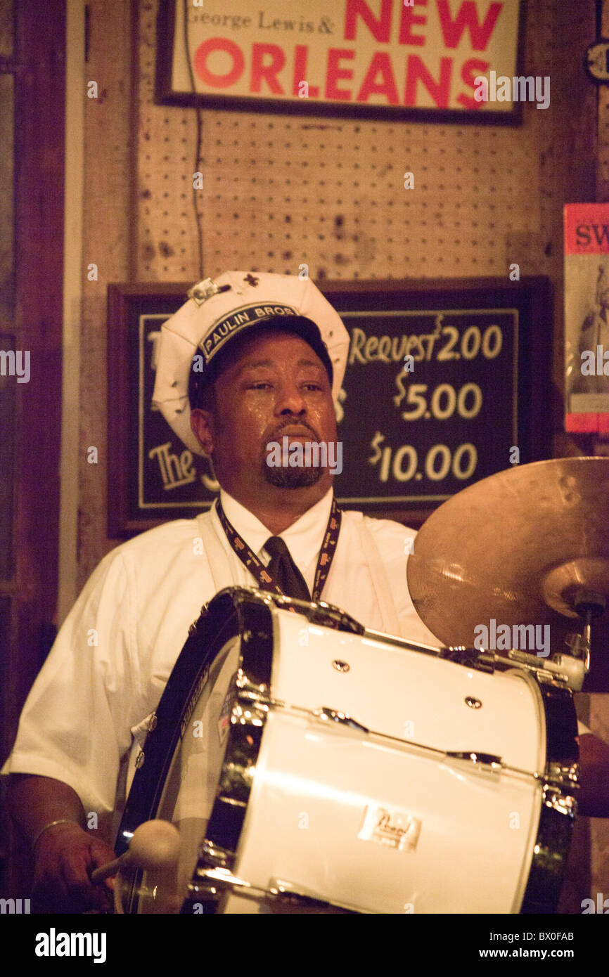 The Paulin Brothers Brass Band plays at Preservation Hall in New Orleans, Louisiana. - Stock Image