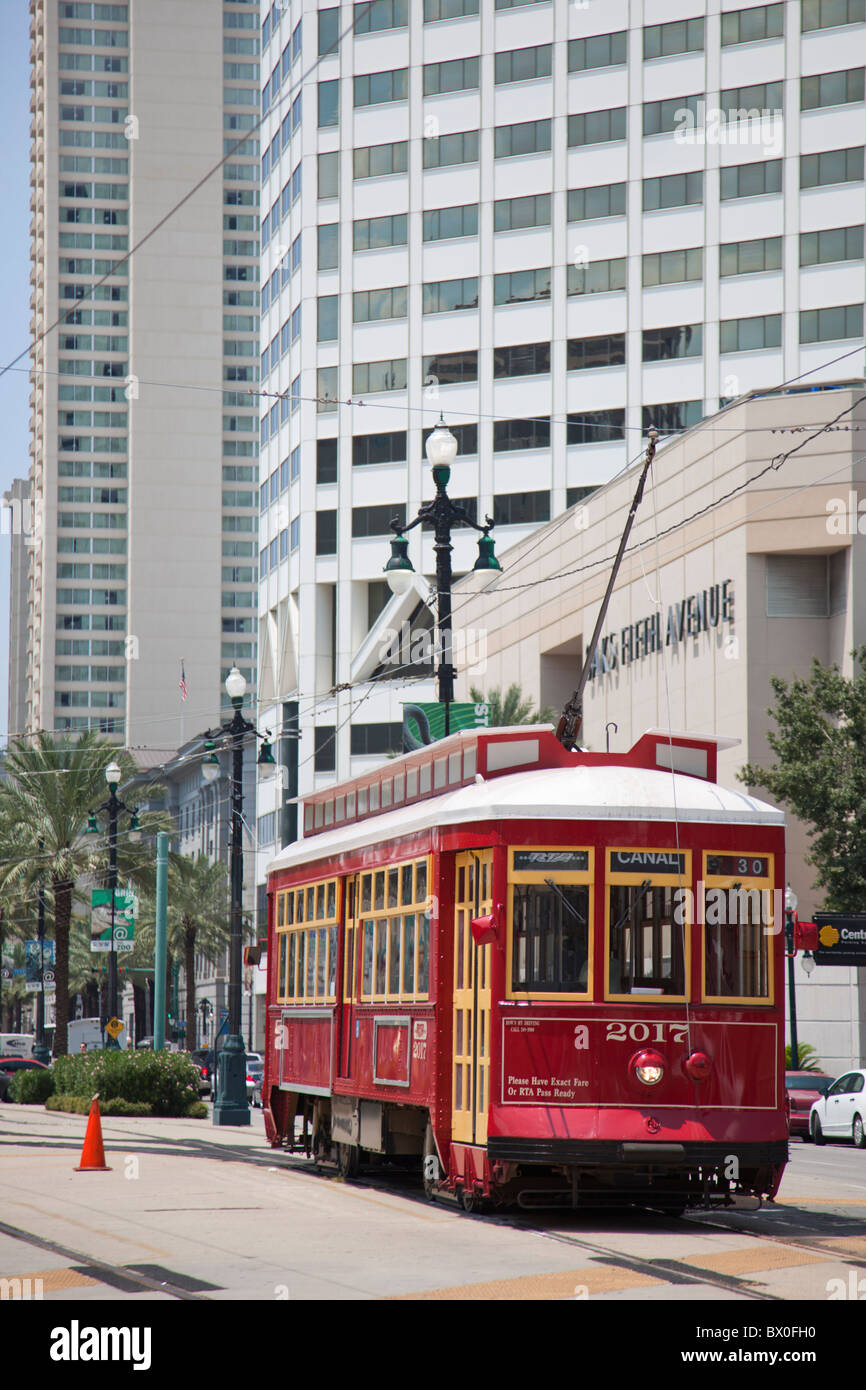 Since the 1800s, New Orleans streetcars like this one on Canal Street have been an integral part of the city's - Stock Image