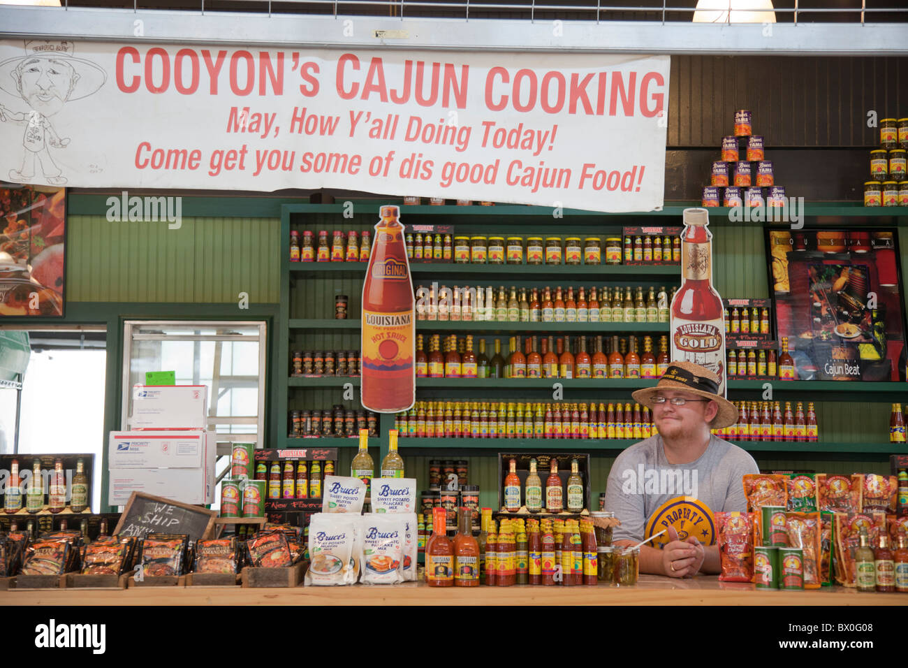 The French Market in the French Quarter of Louisiana, New Orleans sells spices and condiments for Cajun and Creole Stock Photo