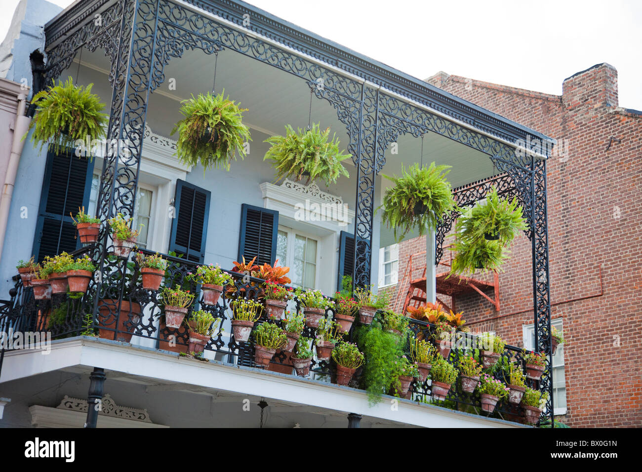 The Spanish-style architecture of the French Quarter of New