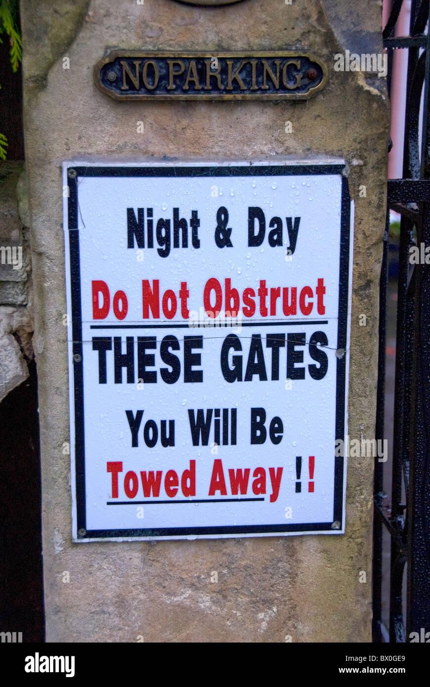 No parking, tow away sign, England, UK - Stock Image