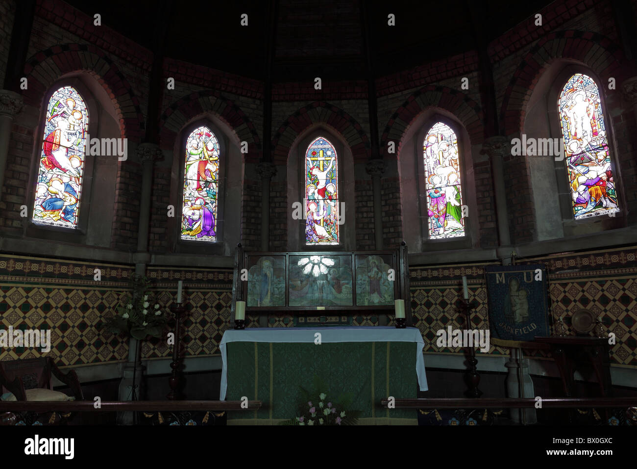 one of (17) images in this set related to St Mary the Virgin Church in Jackfield, Shropshire, England. Stained glass windows. Stock Photo