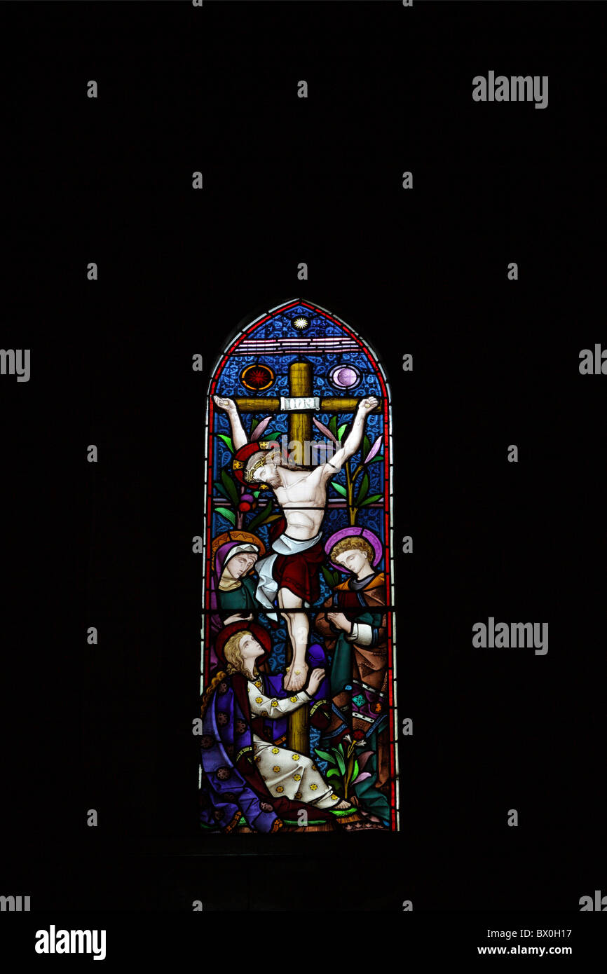one of (17) images in this set related to St Mary the Virgin Church in Jackfield, Shropshire, England. Stained glass window. Stock Photo