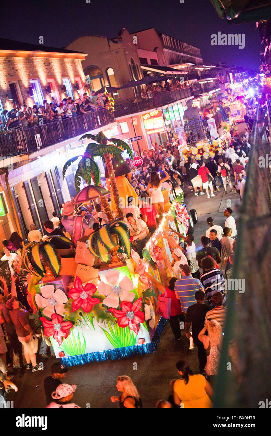 EA Sports celebrates the release of the 2011 game edition with Madden Gras 2011, culminating with a Mardi-Gras style parade. Stock Photo