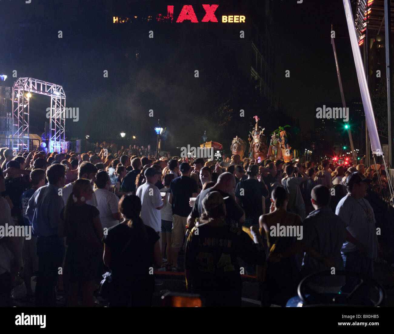 Cowboy Mouth and Galactic perform in the French Quarter of New Orleans, Louisiana at Madden Gras 2011. - Stock Image