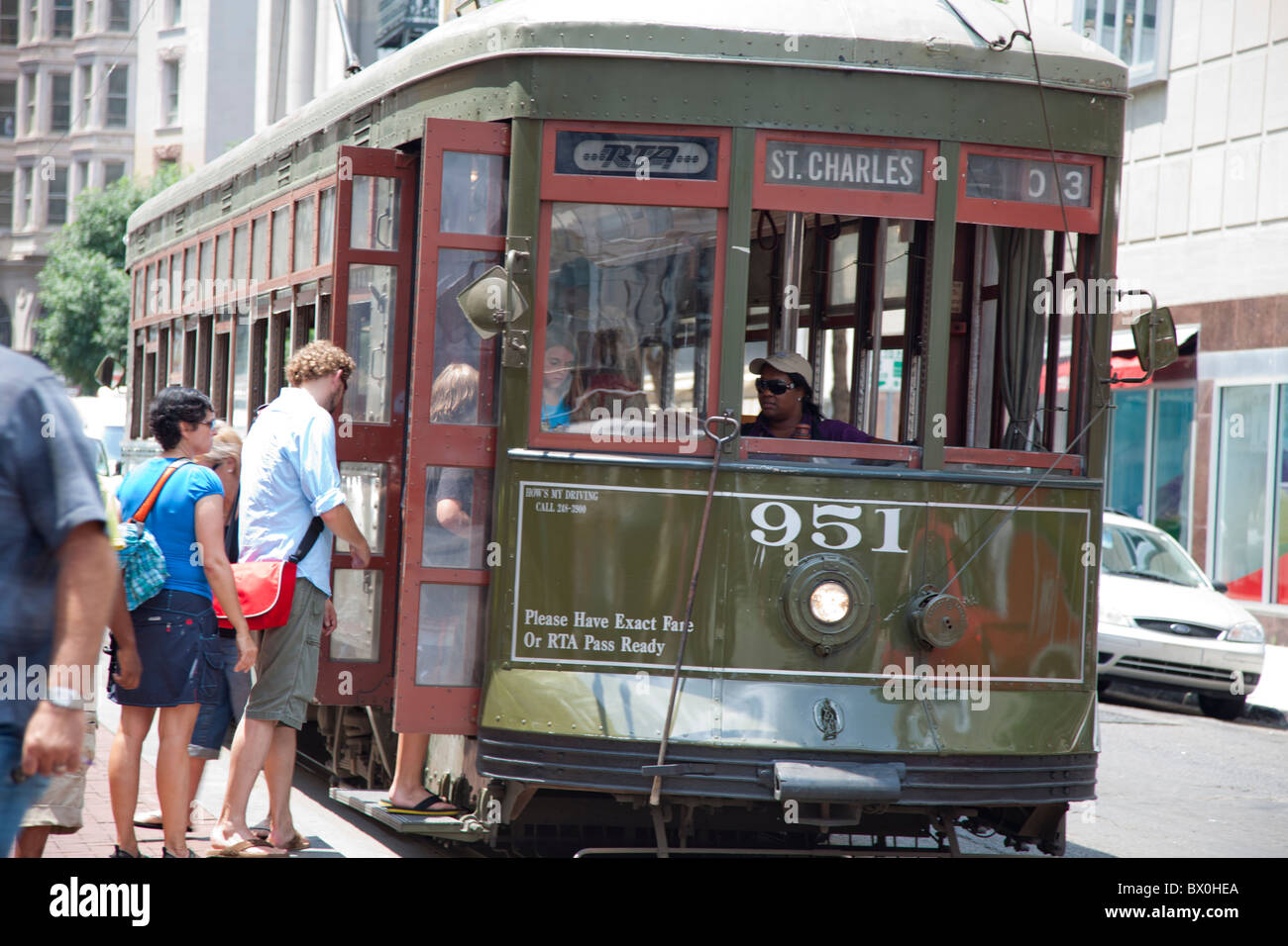 Since the 19th century, New Orleans's St. Charles Street streetcars have provided residents with essential transportation. - Stock Image