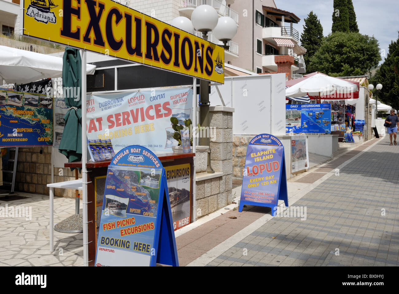 A fine view to travel agency offices in Setaliste Kralja Zvonimira street in Lapad area. The travel agencies sell - Stock Image