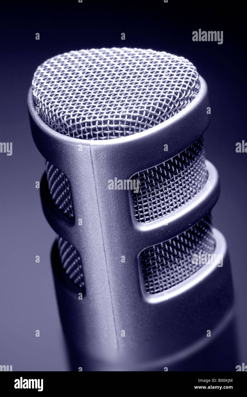 close up of a recording microphone - Stock Image