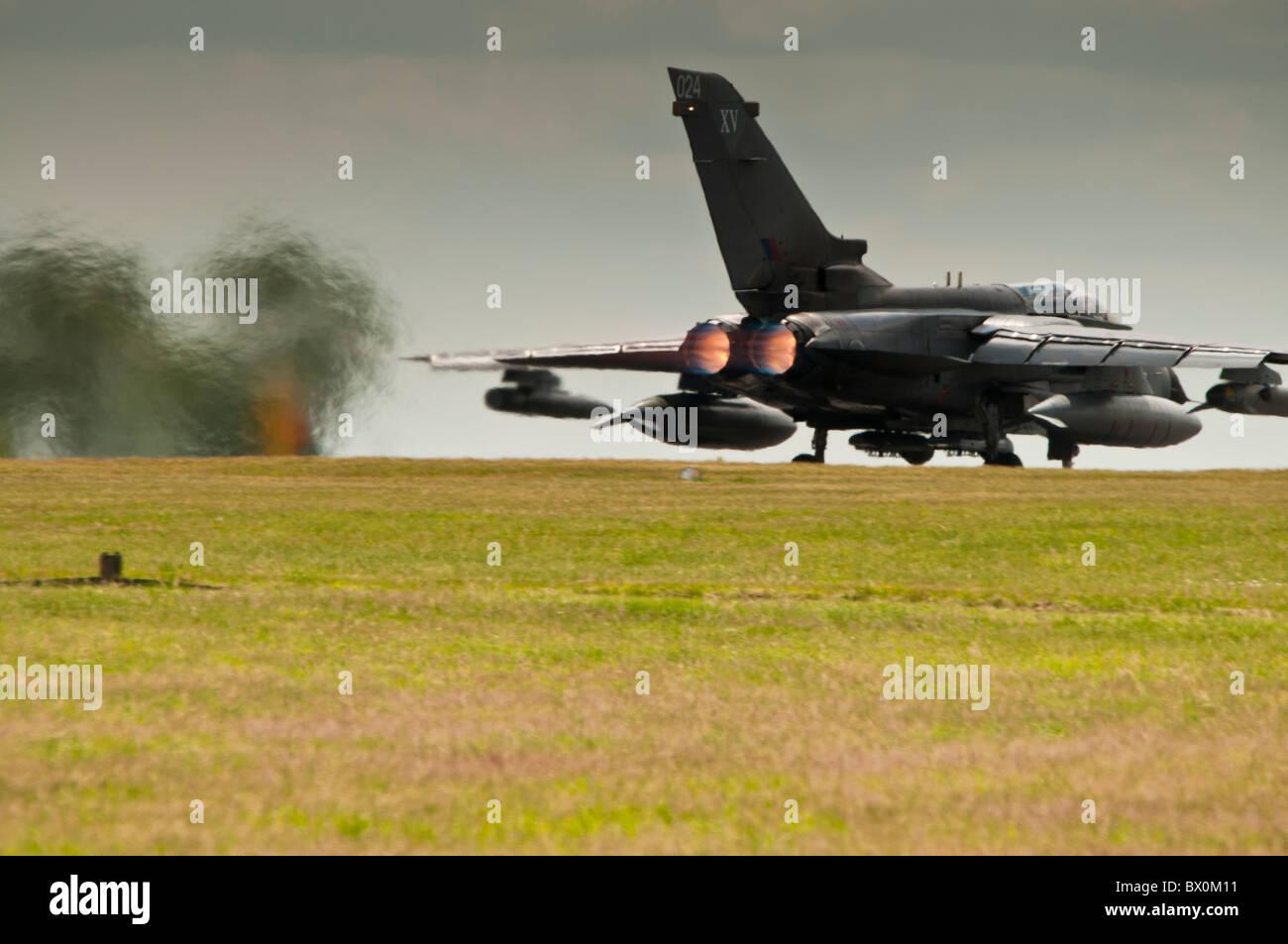 Tornado GR4 ZA452 on full afterburner for takeoff at RAF Waddington Stock Photo
