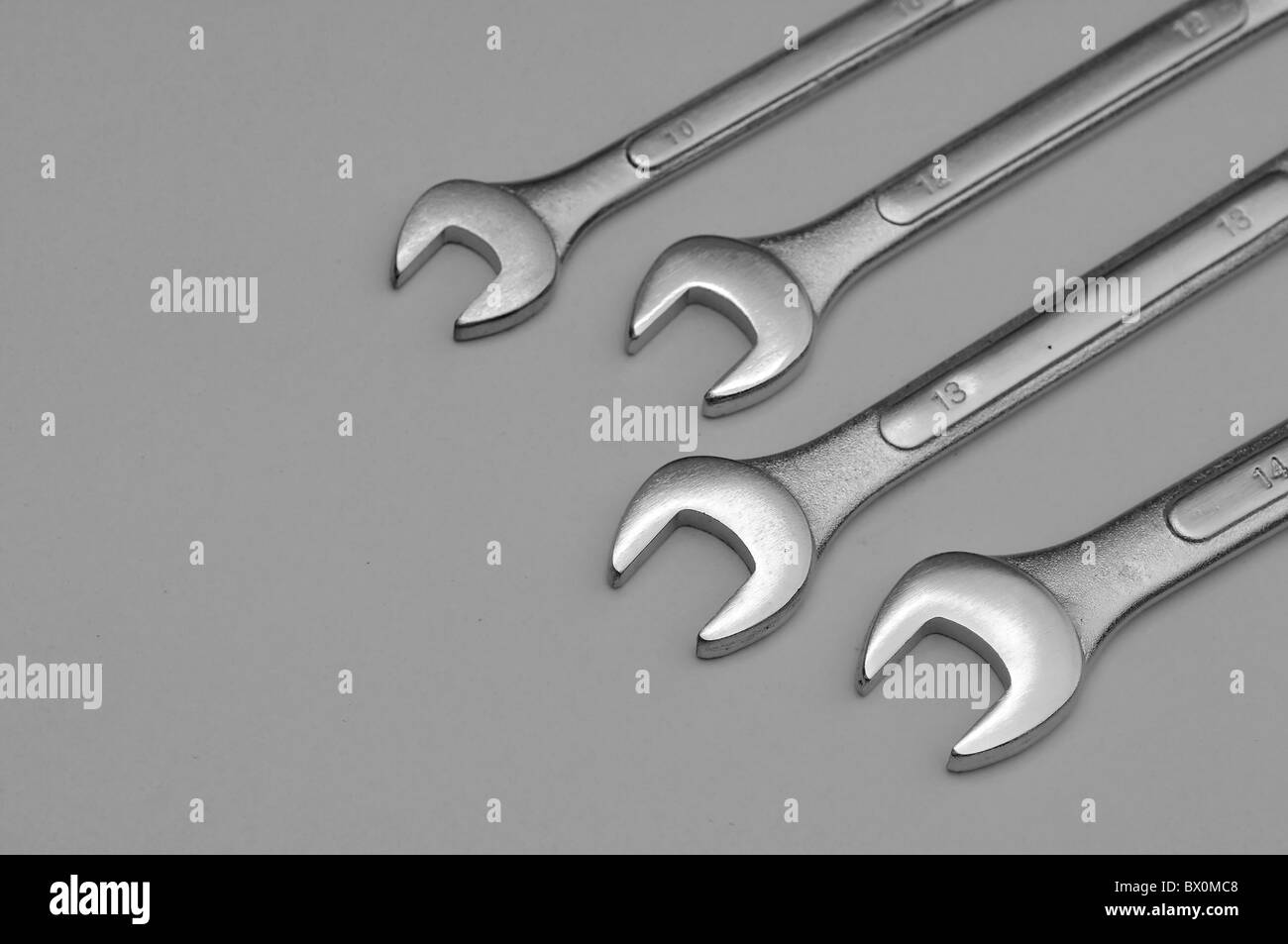 A set of spanners isolated on a light background - Stock Image