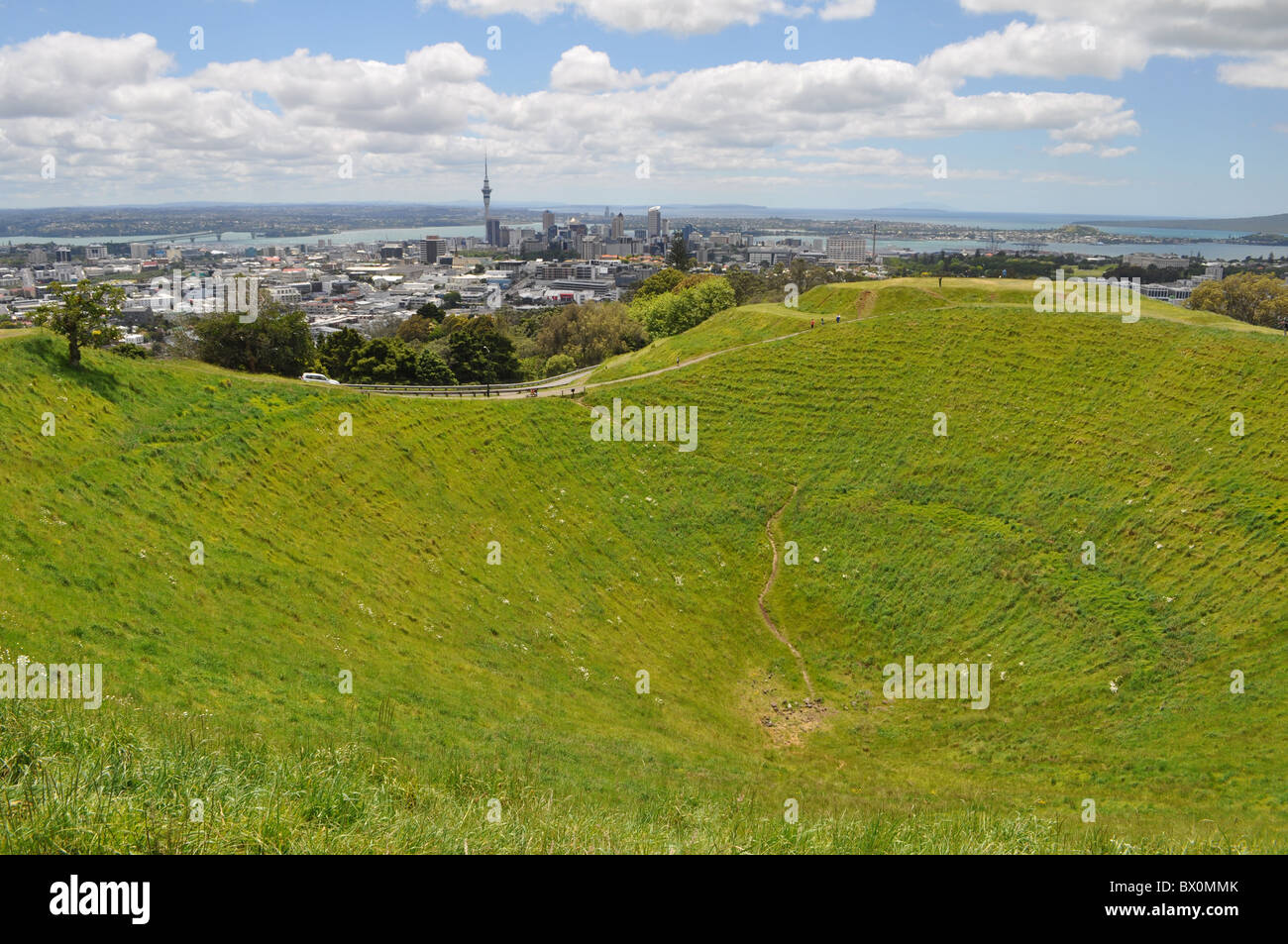 View of Auckland from Mt Eden - Stock Image