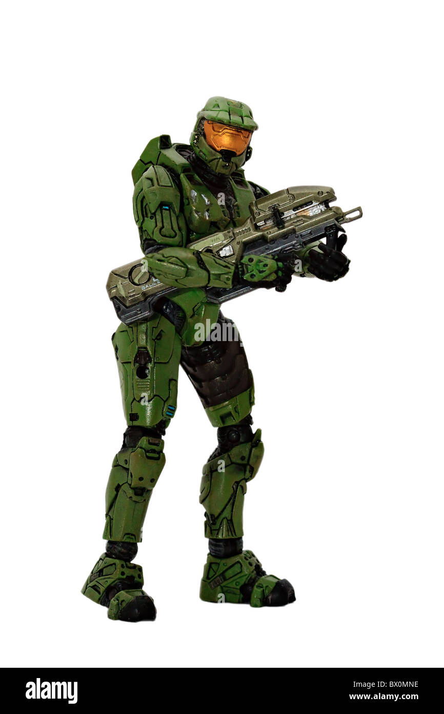 Halo Master Chief action figure carrying Spartan Laser weapon. Stock Photo