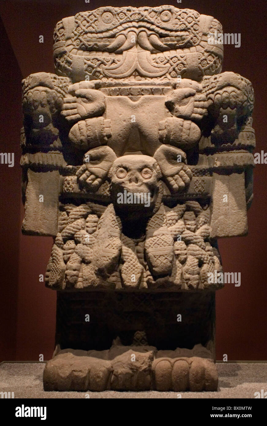 Mexica or Aztec earth goddess Coatlicue, She of the Serpent Skirt, in the National Museum of Anthropology in Mexico - Stock Image