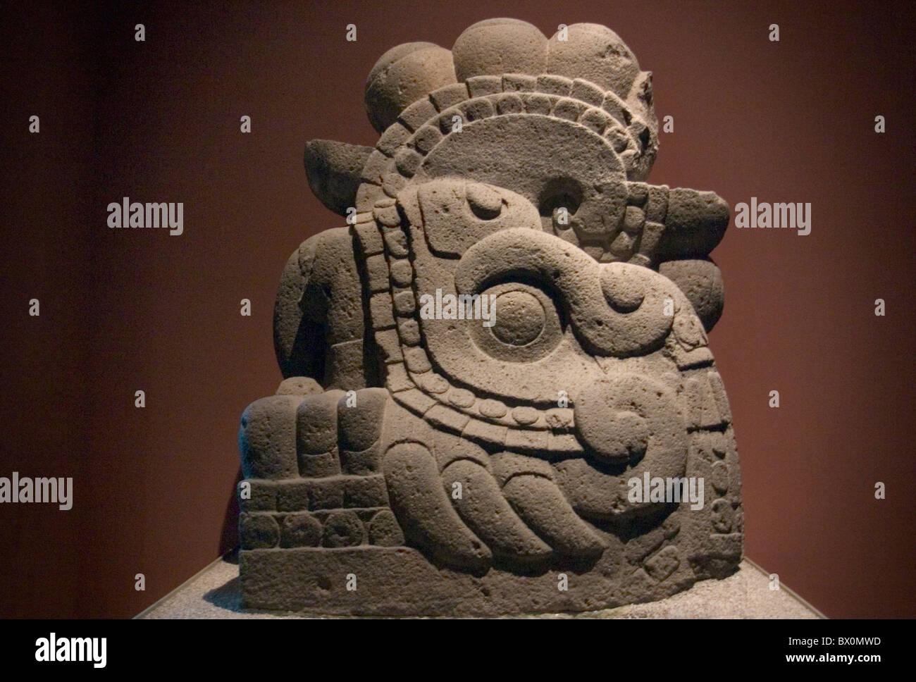 Aztec, Mexica, fire serpent god Xiuhcoatl statue found in the the Templo Mayor, National Museum of Anthropology - Stock Image
