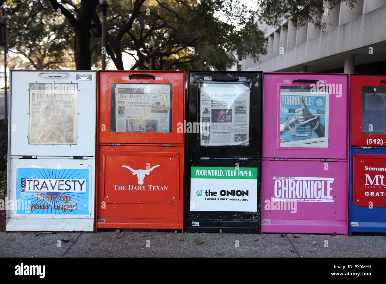 Texan newspaper stand, Austin, Texas - Stock Image