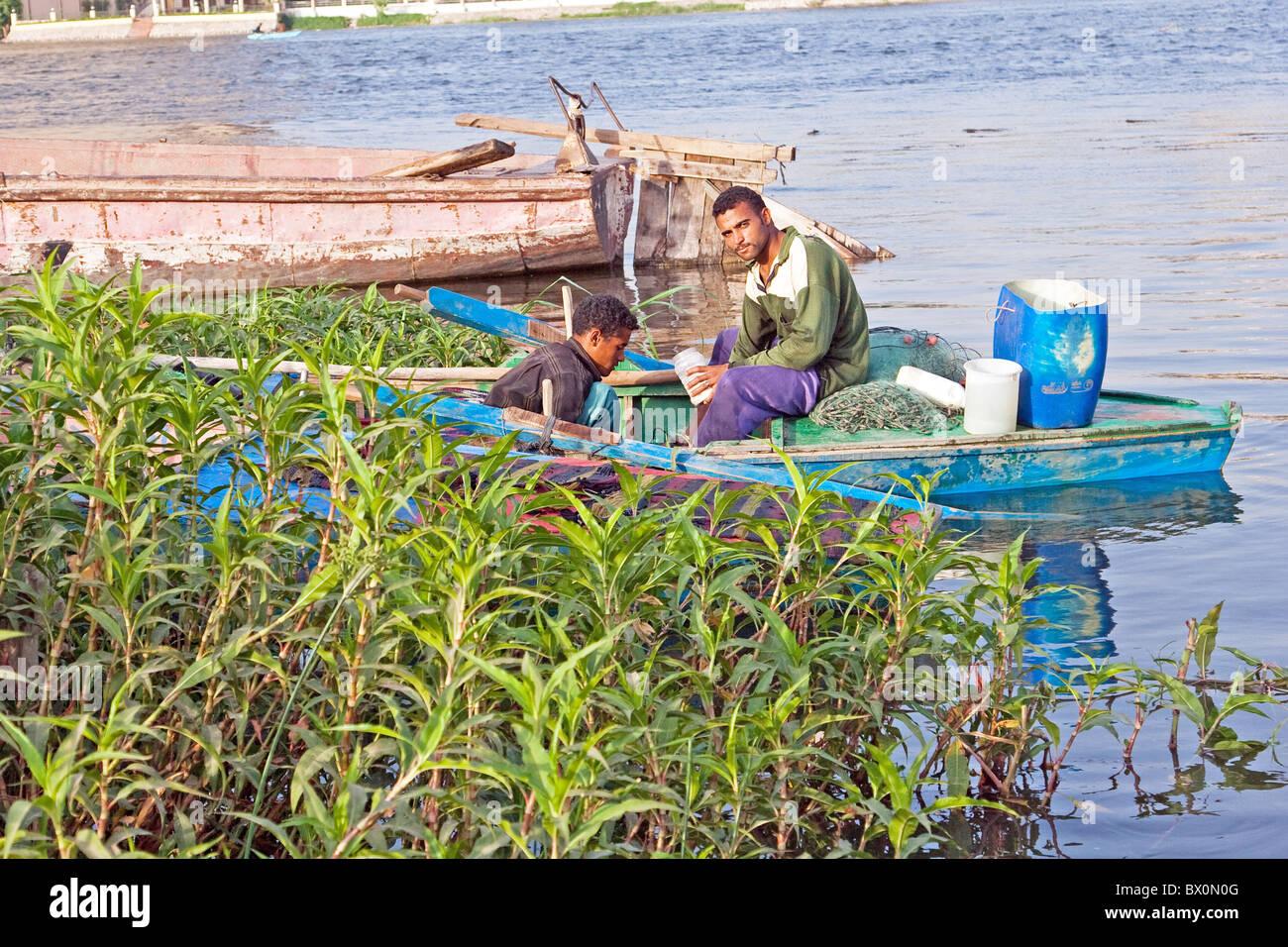 Fisher men at Nile River, Giza, Egypt - Stock Image