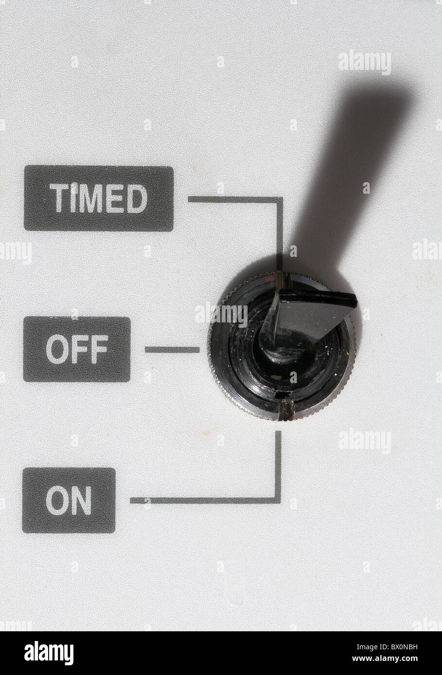 Toggle switch on heating control system with timed, on and off settings. - Stock Image