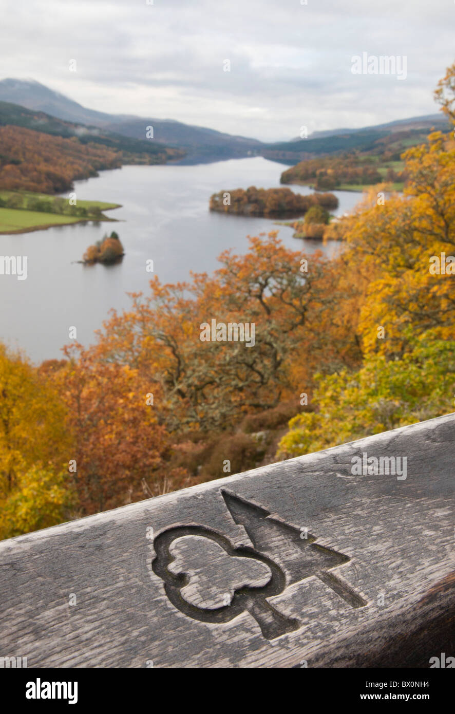 Forestry Commission Scotland Logo foreground. Loch Tummel aka 'Queens View' oof background. - Stock Image