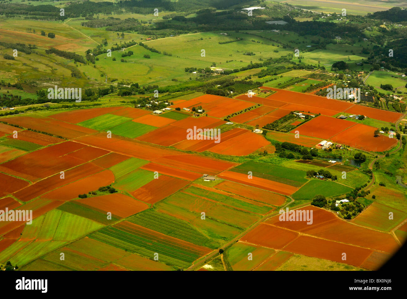 A patchwork quilt of coastal farmland in Northern NSW Australia - Stock Image