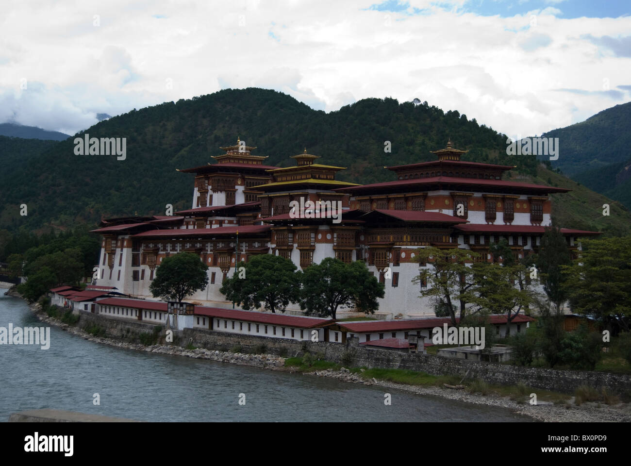 Elegant Punakha Dzong or the palace of happiness and bliss - Stock Image
