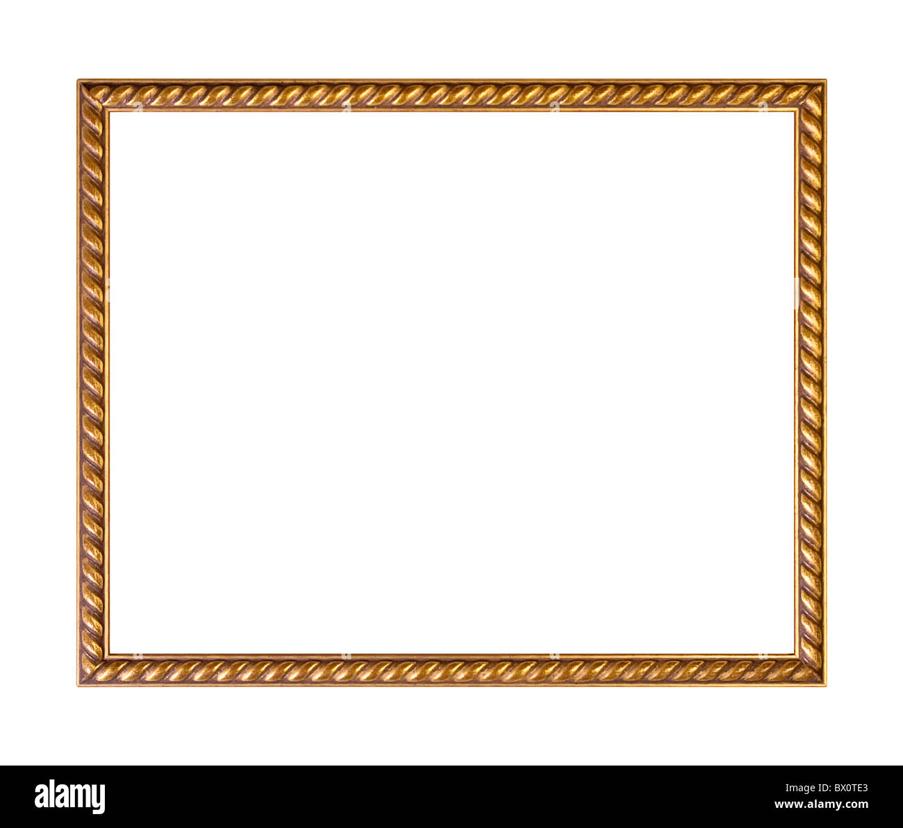 Golden ornately picture frame, isolated on white - Stock Image