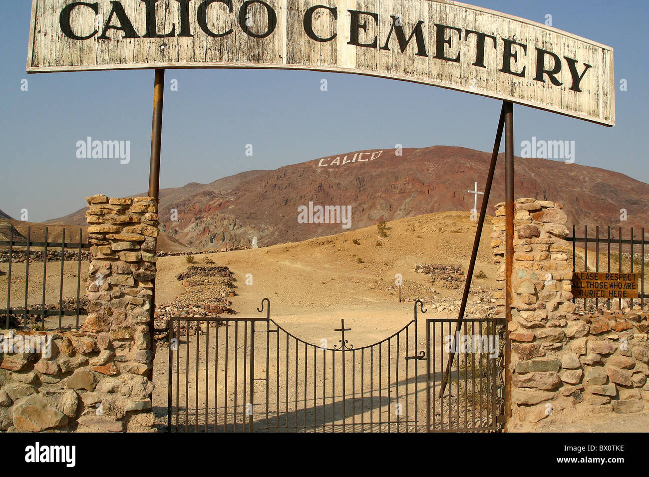 cemetery of Ghosttown Calico - USA, United States of America - Stock Image