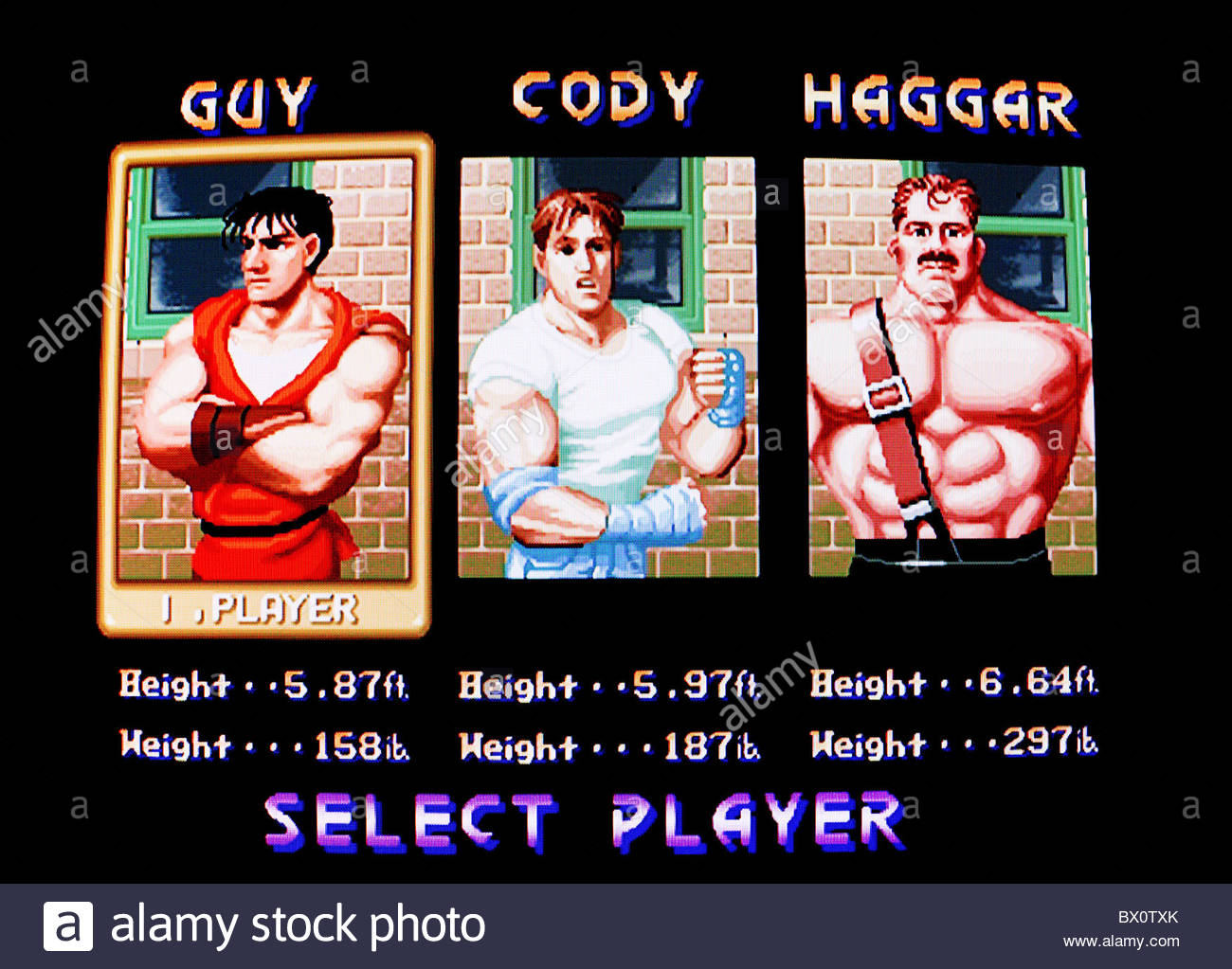 Final fight character select screen shot - Stock Image