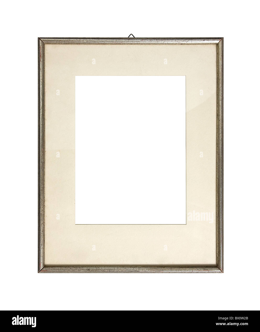 Old silver picture frame, isolated on white - Stock Image