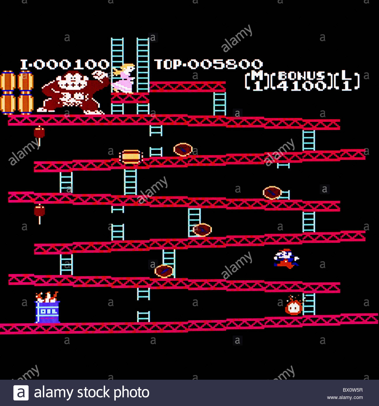 Donkey Kong classic arcade game screen shot - Stock Image