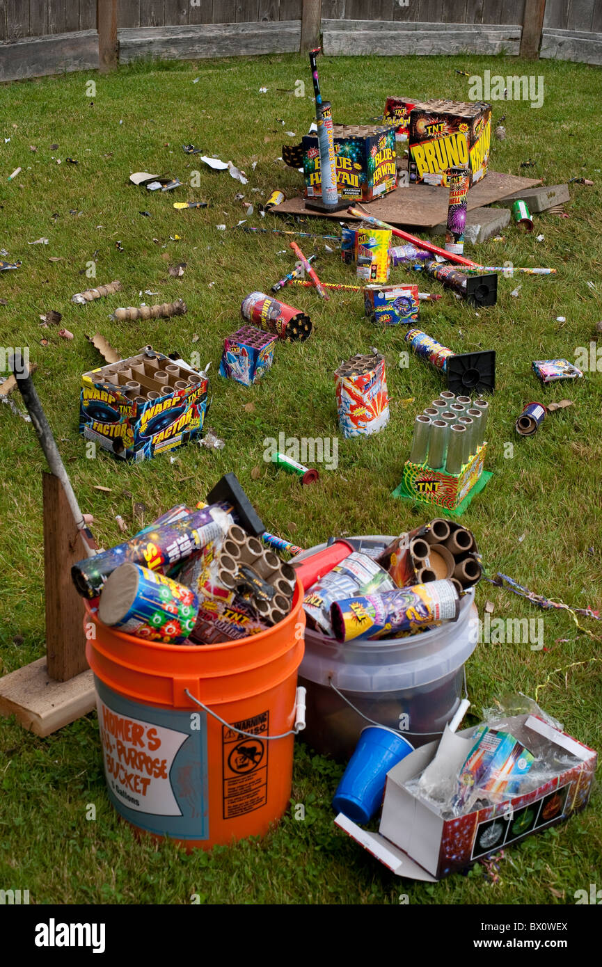 Clean Backyard day after backyard fireworks display july 4th clean up the garbage