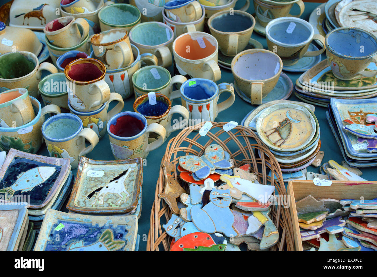 Artistic Handicraft Pottery Mugs Plates Stock Photo Alamy