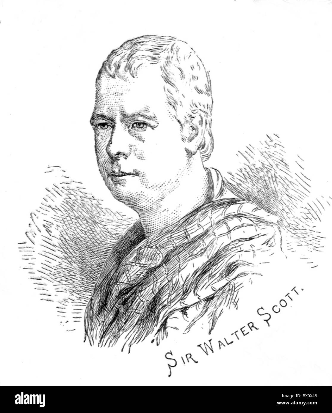 Archive image of historical literary figures. This is Sir Walter Scott. - Stock Image