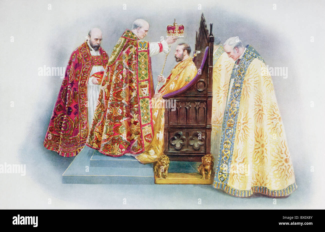 The crowning of King George V by the Archbishop of Canterbury. George V , 1865 – 1936.   King of the United Kingdom. - Stock Image