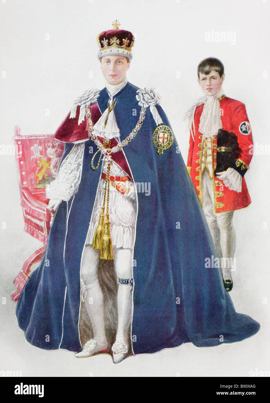 Edward VIII, as Prince of Wales attended by his page. - Stock Image