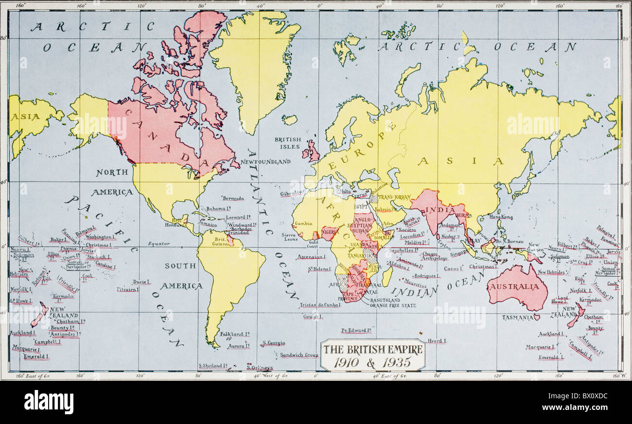 Map showing the King George V's empire, in red, in 1910 and 1935. Stock Photo