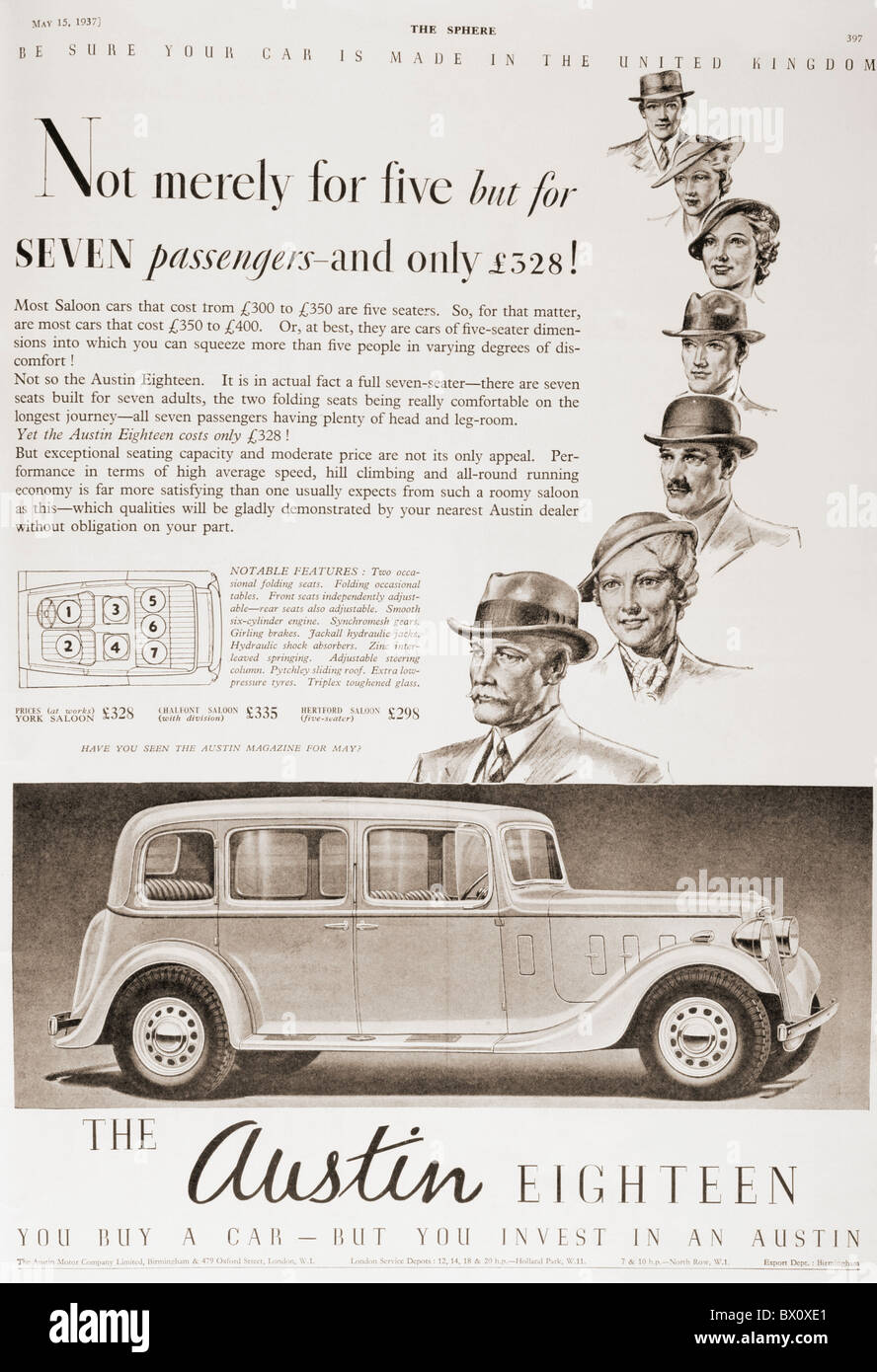 1937 advertisement for the Austin Eighteen car. From The Shpere, Coronation Record Number, published 1937. - Stock Image