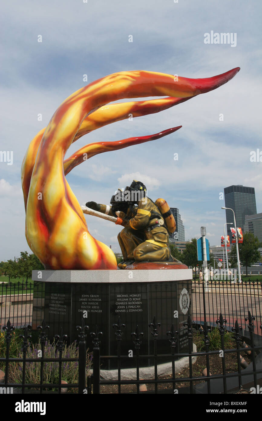 Cleveland Fire Fighters Memorial. Cleveland, Ohio, USA. - Stock Image