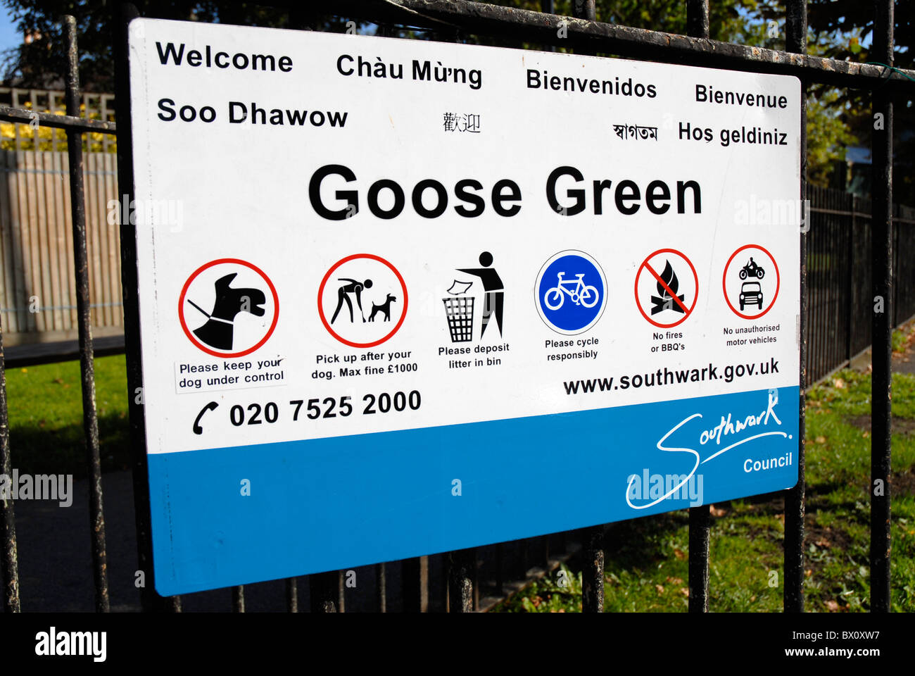 Sign in several languages in Southwark South London - Stock Image