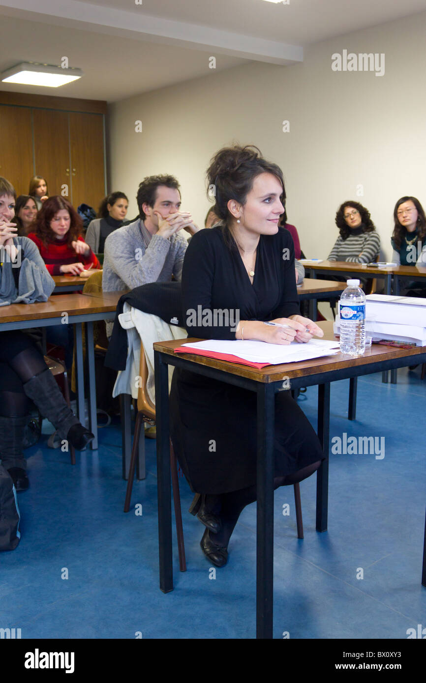 PhD candidate begin examined by jury, University of Paris, Sorbonne, Paris, France - Stock Image