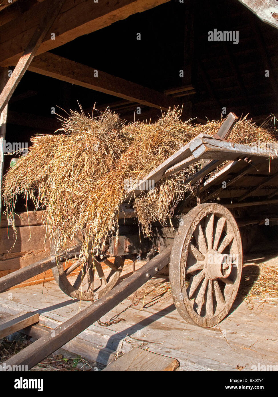 Horse wagon with load of hay left in the entrance of a barn. - Stock Image