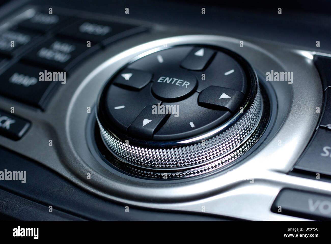 Modern control interface. Interior of luxury japanese car. - Stock Image
