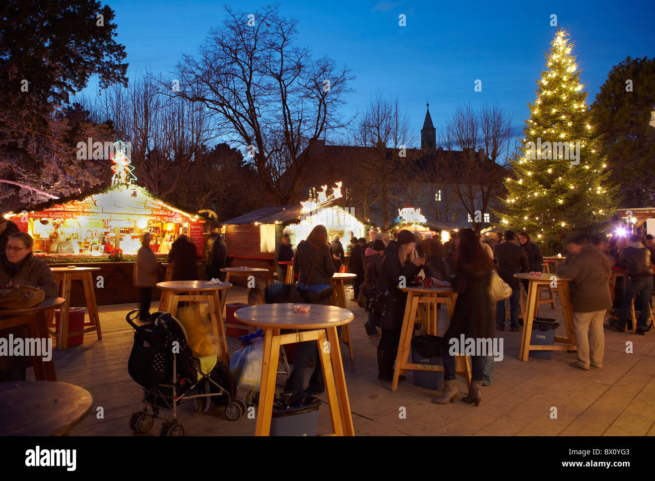 Mulled Wine Christmas Market.People Drinking Mulled Wine Christmas Market Stock Photo