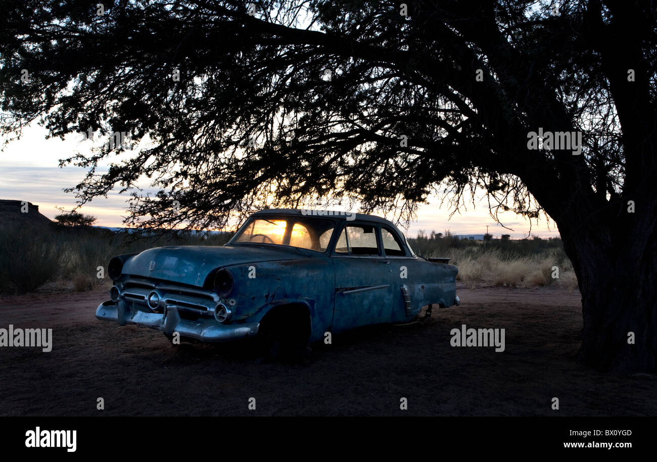 Abandoned car in the Kalahari Namibia - Stock Image