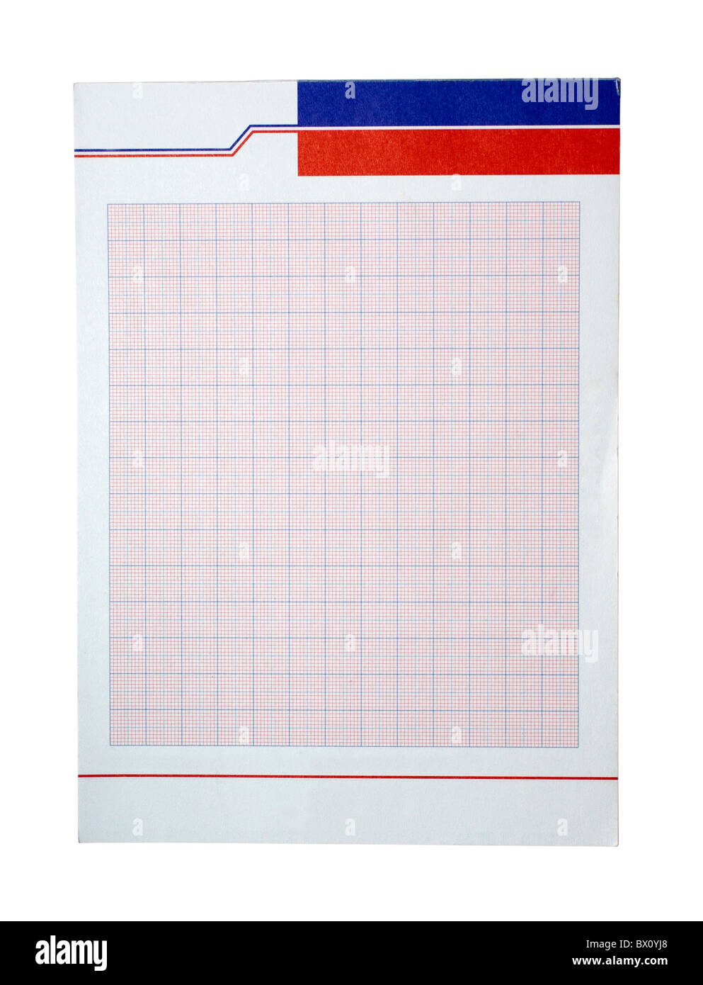 graph paper in red with blue colors isolated on white background