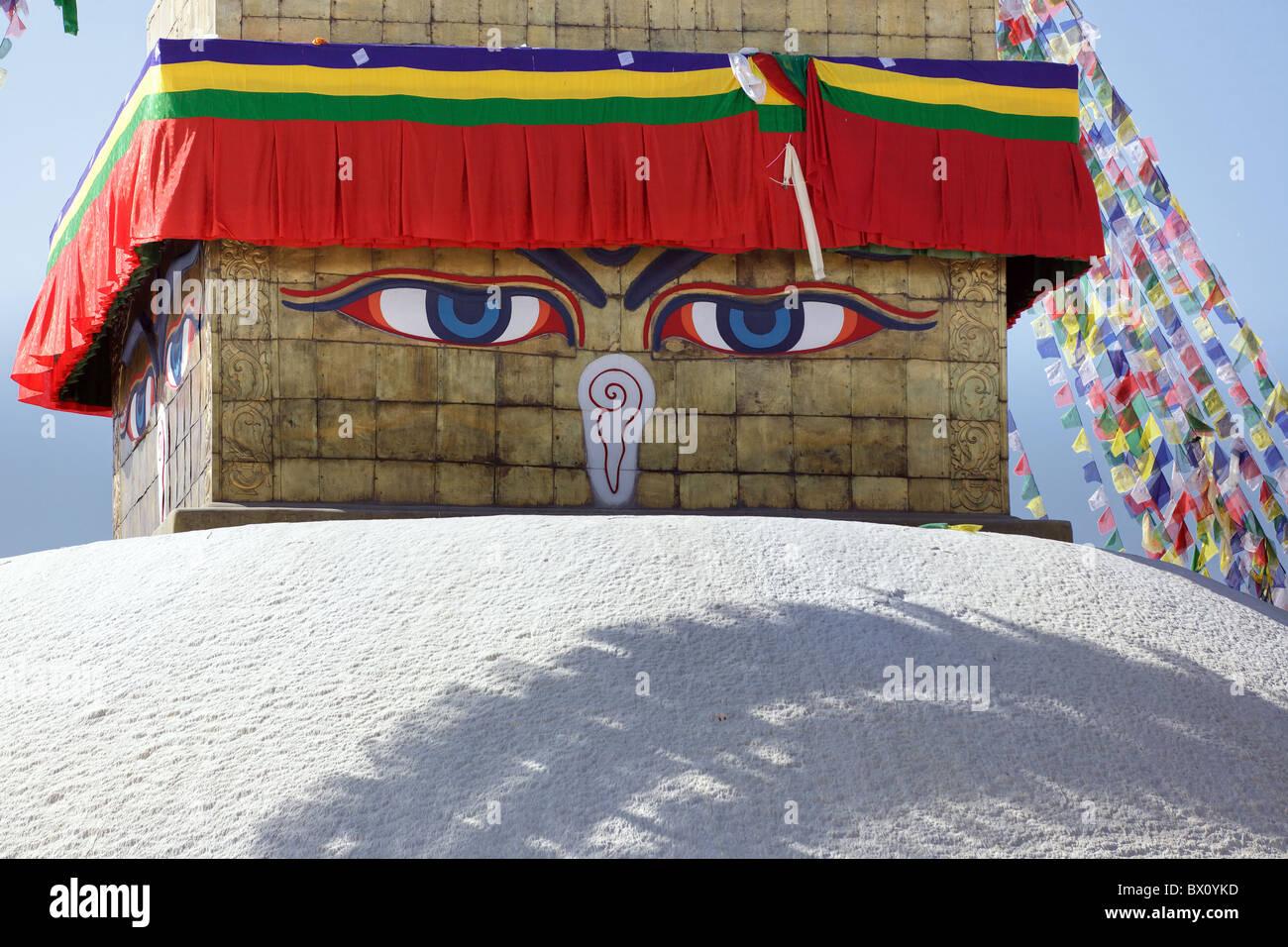 buddha eyes of bodhnath stupa in Kathmandu, Nepal - Stock Image