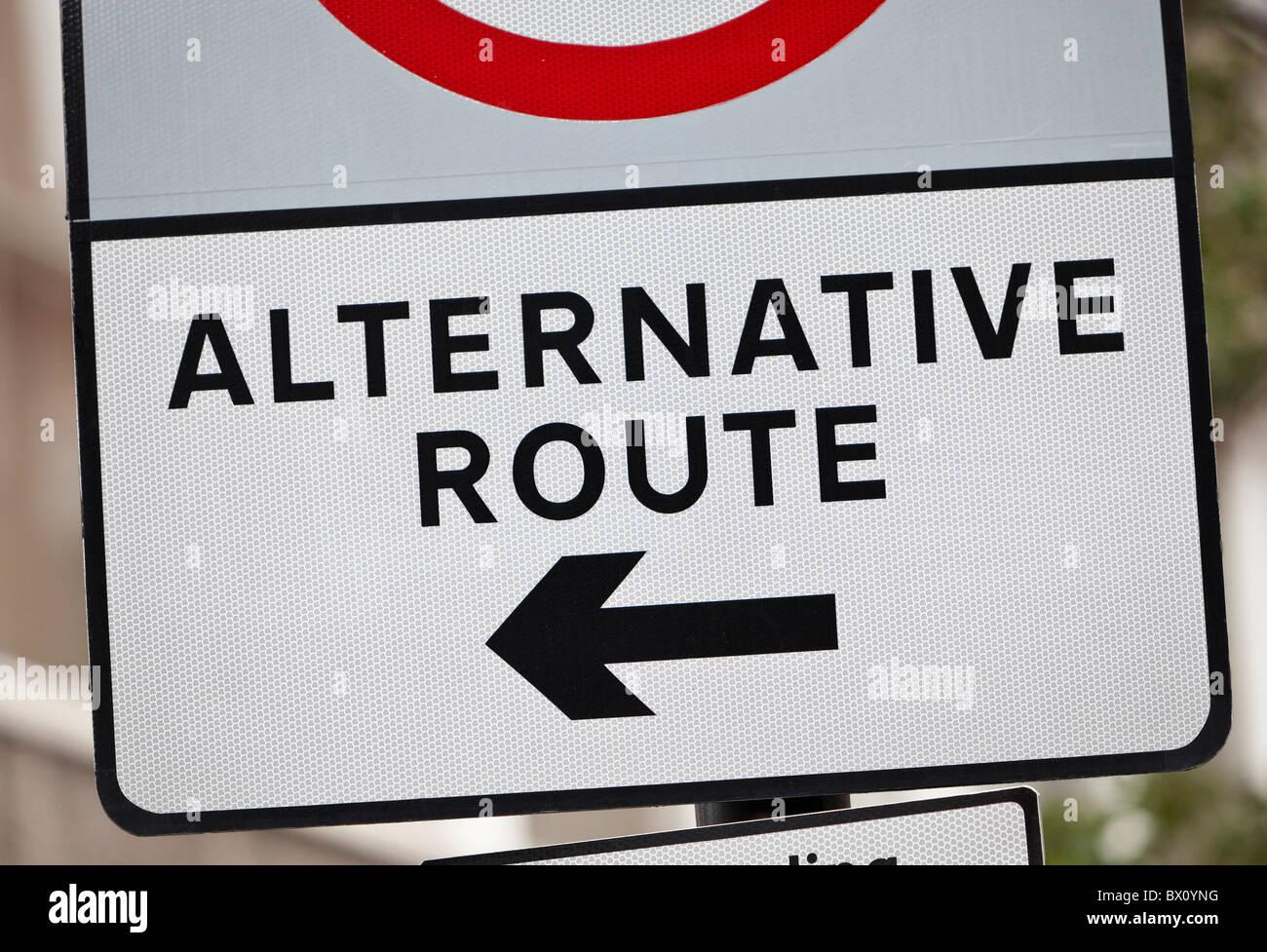 Alternative route sign, UK - Stock Image