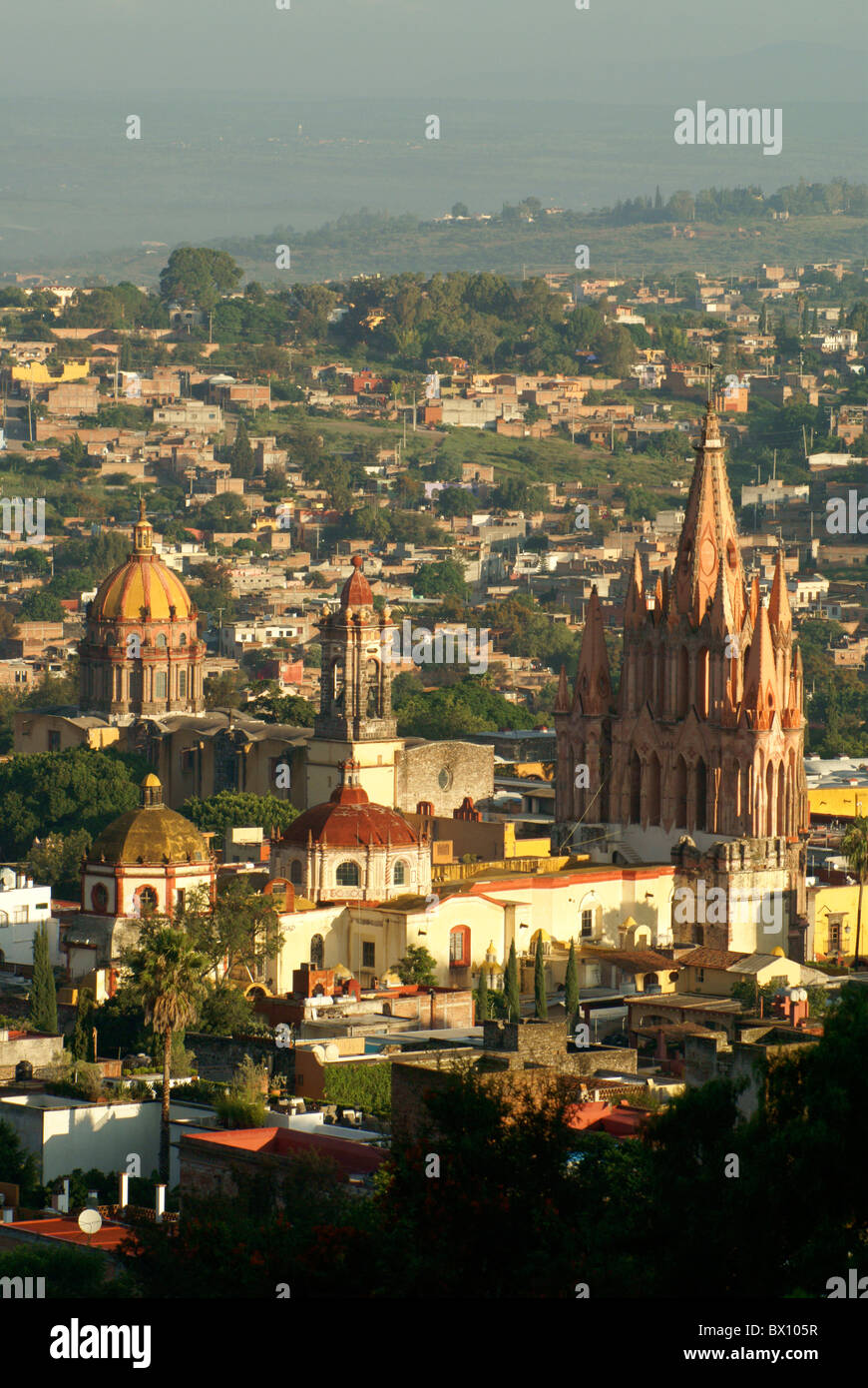 The historical center of San Miguel de Allende from above,  Guanajuato,, Mexico. - Stock Image